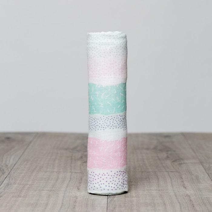 Zdjęcie Lulujo Kocyk Bambusowy Pink Spotted Stripe