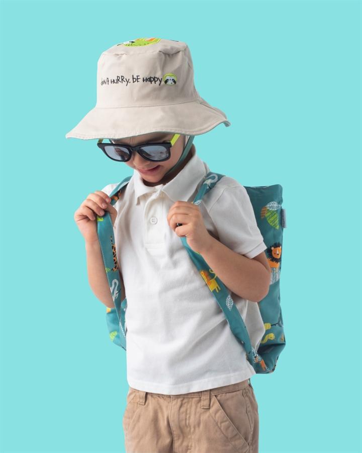 Zdjęcie FlapJack Ręcznik Plecak Plażowy dla Dzieci 2w1 Zielone Zoo