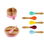 Avanchy Rainbow Bambusowy Zestaw Obiadowy dla Dziecka Pink
