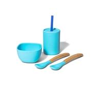 Avanchy La Petite Silikonowy Zestaw Obiadowy dla Dziecka Blue
