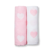 Lulujo Otulacz Muślinowy 2szt Pink Hearts