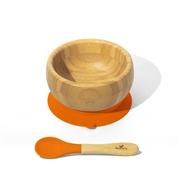 Avanchy Baby Bambusowa Miseczka z Przyssawką i Łyżeczką 4m Orange