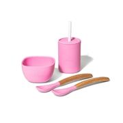 Avanchy La Petite Silikonowy Zestaw Obiadowy dla Dziecka Pink