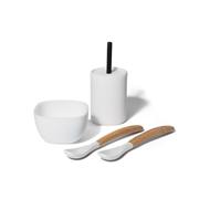 Avanchy Le Petite Silikonowy Zestaw Obiadowy dla Dziecka White
